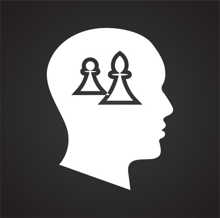 Human head with chess figures icon on black background for graphic and web design, Modern simple vector sign. Internet concept. Trendy symbol for website design web button or mobile app Stock Photo
