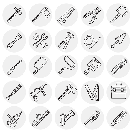 Tools icons line set on circles background for graphic and web design, Modern simple vector sign. Internet concept. Trendy symbol for website design web button or mobile app