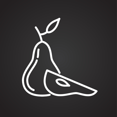 Pear line icon on blackbackground for graphic and web design, Modern simple vector sign. Internet concept. Trendy symbol for website design web button or mobile app