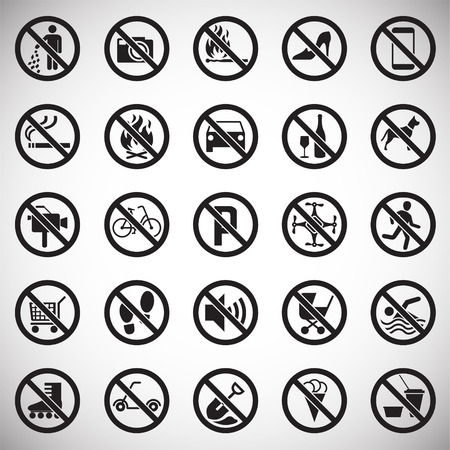 Prohibition signs set on white background for graphic and web design, Modern simple vector sign. Internet concept. Trendy symbol for website design web button or mobile app