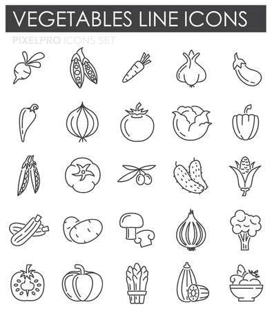 Vegetables line icons set on white background for graphic and web design, Modern simple vector sign. Internet concept. Trendy symbol for website design web button or mobile app