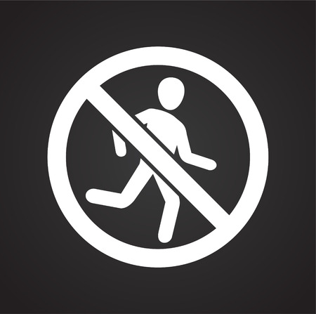 No running allowed sign on black background for graphic and web design, Modern simple vector sign. Internet concept. Trendy symbol for website design web button or mobile app