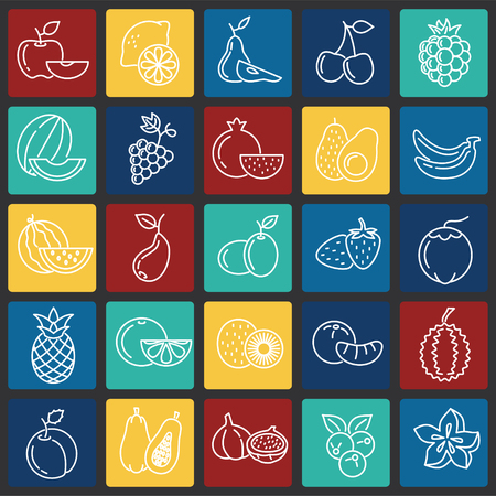 Fruit icons set on color squares background for graphic and web design, Modern simple vector sign. Internet concept. Trendy symbol for website design web button or mobile app 版權商用圖片 - 116644907