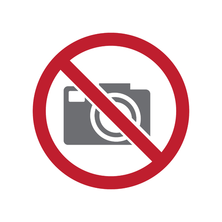 No camera allowed sign on white background for graphic and web design, Modern simple vector sign. Internet concept. Trendy symbol for website design web button or mobile app