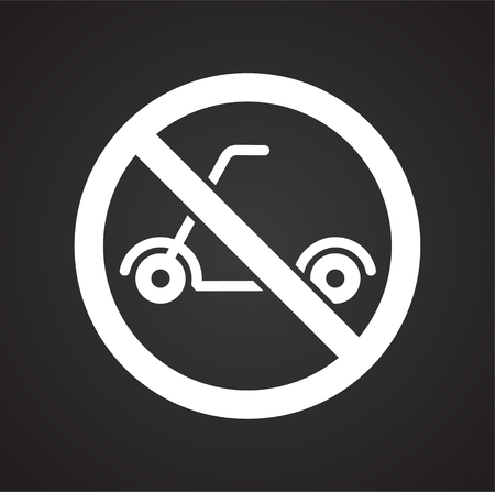 No scooter allowed sign on black background for graphic and web design, Modern simple vector sign. Internet concept. Trendy symbol for website design web button or mobile app Stock Photo