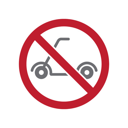 No scooter allowed sign on white background for graphic and web design, Modern simple vector sign. Internet concept. Trendy symbol for website design web button or mobile app