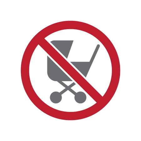 No stroller entrance allowed sign on white background for graphic and web design, Modern simple vector sign. Internet concept. Trendy symbol for website design web button or mobile app