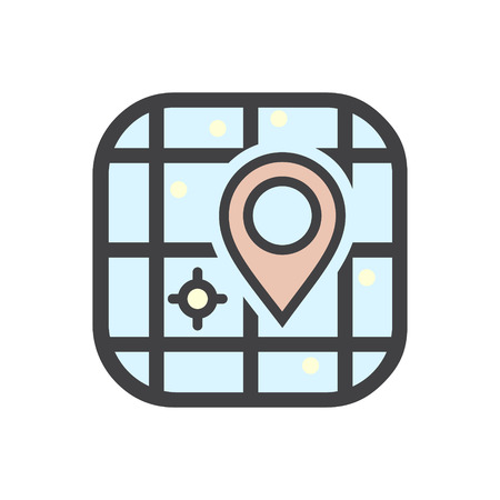Space map color icon on white background for graphic and web design, Modern simple vector sign. Internet concept. Trendy symbol for website design web button or mobile app Çizim