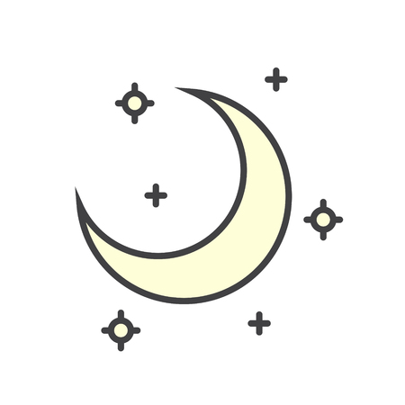 Moon color icon on white background for graphic and web design, Modern simple vector sign. Internet concept. Trendy symbol for website design web button or mobile app Çizim