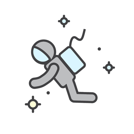 Astronaut color icon on white background for graphic and web design, Modern simple vector sign. Internet concept. Trendy symbol for website design web button or mobile app Çizim
