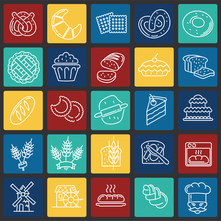 Bakery outline icons set on color squares background for graphic and web design, Modern simple vector sign. Internet concept. Trendy symbol for website design web button or mobile app