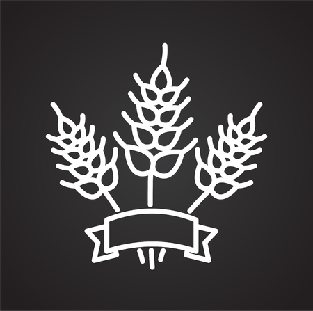 Wheat outline icon black background for graphic and web design, Modern simple vector sign. Internet concept. Trendy symbol for website design web button or mobile app