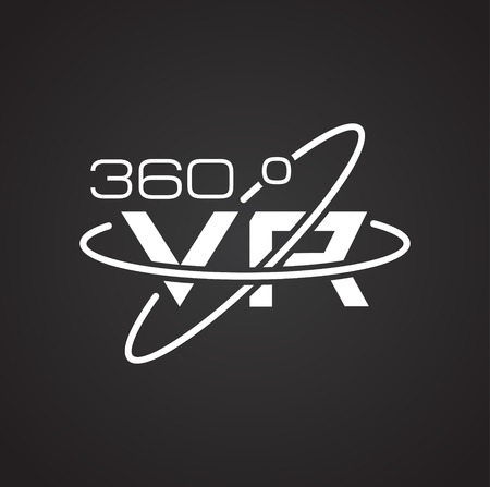 Virtual reality 360 icon on black background for graphic and web design, Modern simple vector sign. Internet concept. Trendy symbol for website design web button or mobile app