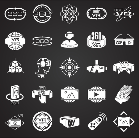 Virtual reality icons set on black background for graphic and web design, Modern simple vector sign. Internet concept. Trendy symbol for website design web button or mobile app
