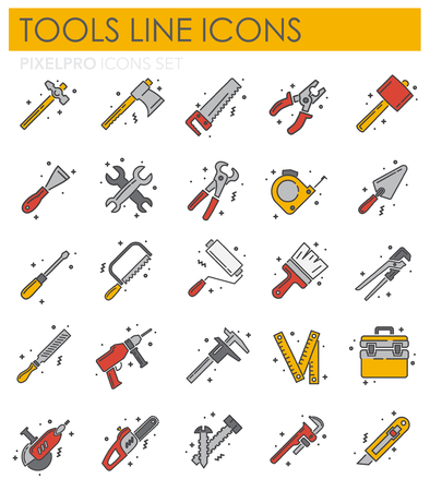Tools icons line set on white background for graphic and web design, Modern simple vector sign. Internet concept. Trendy symbol for website design web button or mobile app