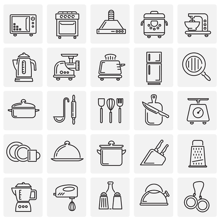 Kitchen appliances line icons set on squares background for graphic and web design, Modern simple vector sign. Internet concept. Trendy symbol for website design web button or mobile app