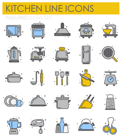 Kitchen appliances line icons set on white background for graphic and web design, Modern simple vector sign. Internet concept. Trendy symbol for website design web button or mobile app