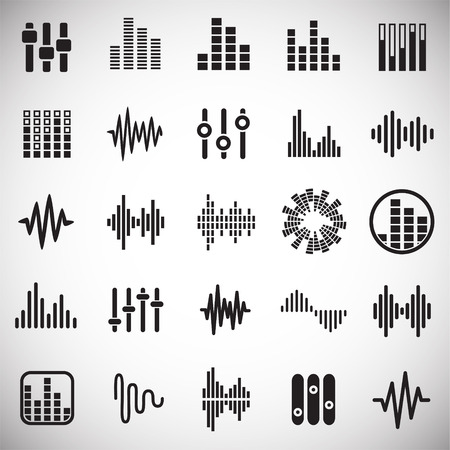 Equalizer Icons Set On White Background For Graphic And Web