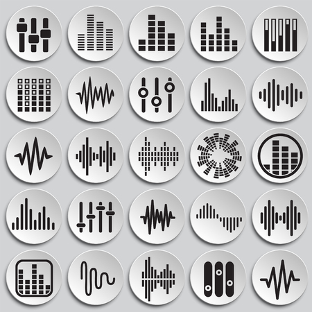 Equalizer icons set on plates background for graphic and web design, Modern simple vector sign. Internet concept. Trendy symbol for website design web button or mobile app