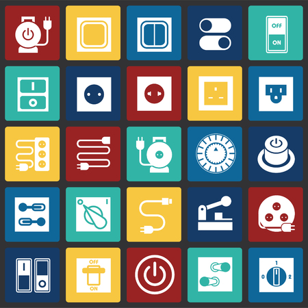 Electric ware icons set on color squares background for graphic and web design, Modern simple vector sign. Internet concept. Trendy symbol for website design web button or mobile app Stock Illustratie