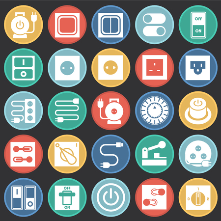 Electric ware icons set on color circles black background for graphic and web design, Modern simple vector sign. Internet concept. Trendy symbol for website design web button or mobile app
