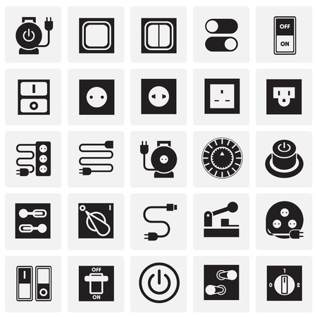 Electric ware icons set on squares background for graphic and web design, Modern simple vector sign. Internet concept. Trendy symbol for website design web button or mobile app