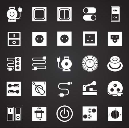 Electric ware icons set on black background for graphic and web design, Modern simple vector sign. Internet concept. Trendy symbol for website design web button or mobile app