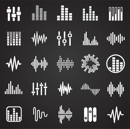 Equalizer icons set on black background for graphic and web design, Modern simple vector sign. Internet concept. Trendy symbol for website design web button or mobile app