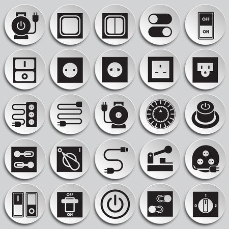 Electric ware icons set on plates background for graphic and web design, Modern simple vector sign. Internet concept. Trendy symbol for website design web button or mobile app Stock Illustratie