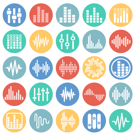 Equalizer icons set on color circles white background for graphic and web design, Modern simple vector sign. Internet concept. Trendy symbol for website design web button or mobile app
