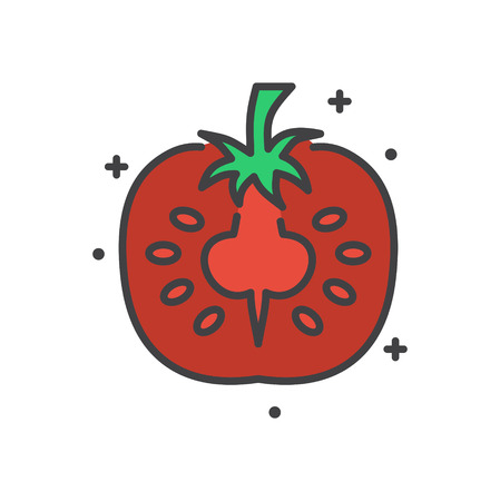 Tomato line icon on white background for graphic and web design, Modern simple vector sign. Internet concept. Trendy symbol for website design web button or mobile app
