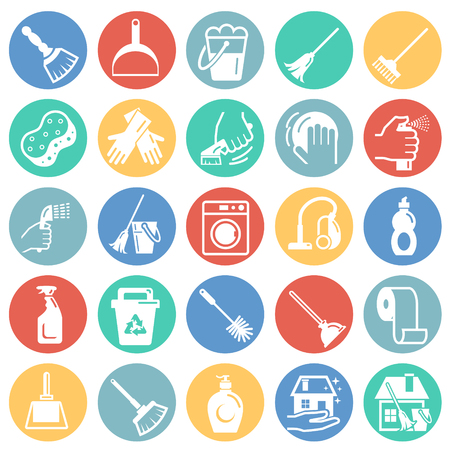 Cleaning icons set on color circles white background for graphic and web design, Modern simple vector sign. Internet concept. Trendy symbol for website design web button or mobile app