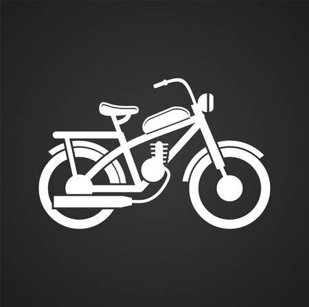 Motorcycle cross icon on black background for graphic and web design, Modern simple vector sign. Internet concept. Trendy symbol for website design web button or mobile app Фото со стока