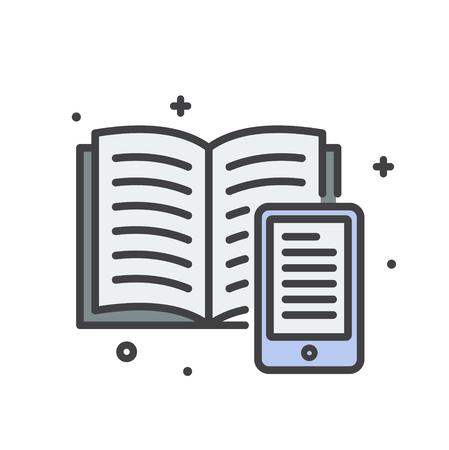 E-Learning libro icona linea su sfondo bianco per grafica e web design, moderno vettore semplice segno. Concetto di Internet. Simbolo alla moda per il pulsante web di progettazione di siti Web o l'app mobile