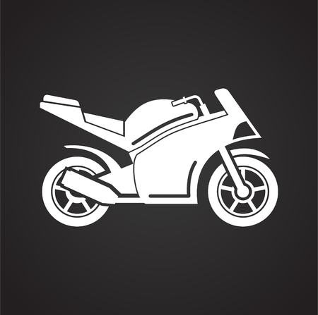 Motorcycle sport icon on black background for graphic and web design, Modern simple vector sign. Internet concept. Trendy symbol for website design web button or mobile app Vectores