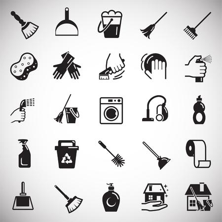 Icônes de nettoyage sur fond blanc pour la conception graphique et web, simple signe vecteur moderne. Notion Internet. Symbole à la mode pour le bouton Web de conception de site Web ou l'application mobile