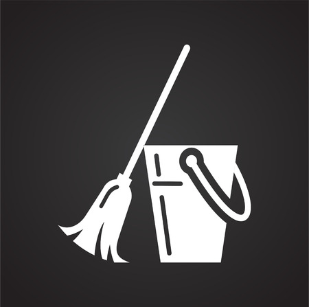 Cleaning broom icon on black background for graphic and web design, Modern simple vector sign. Internet concept. Trendy symbol for website design web button or mobile app