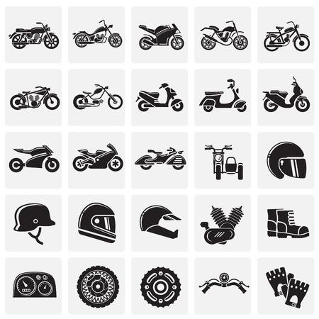 Motorfiets pictogrammen instellen op pleinen achtergrond voor grafisch en webdesign, moderne eenvoudige vector teken. Internet-concept. Trendy symbool voor website-ontwerp webknop of mobiele app