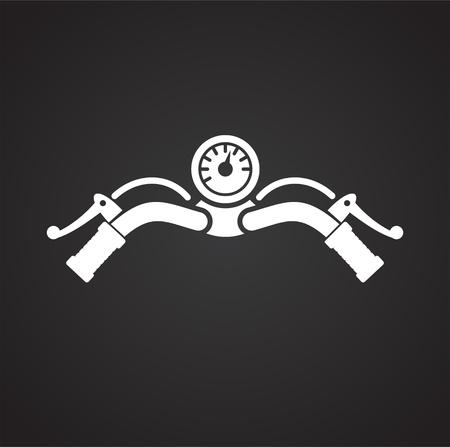 Icône de barre de moto sur fond noir pour la conception graphique et web, simple signe vecteur moderne. Notion Internet. Symbole à la mode pour le bouton web de conception de site Web ou l'application mobile Vecteurs