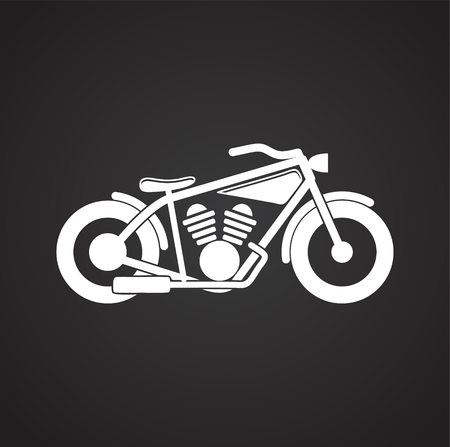 Classic Motorcycle icon on black background for graphic and web design, Modern simple vector sign. Internet concept. Trendy symbol for website design web button or mobile app