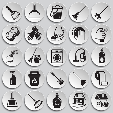 Cleaning icons set on plates background for graphic and web design, Modern simple vector sign. Internet concept. Trendy symbol for website design web button or mobile app