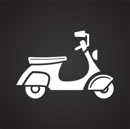 Scooter icon on black background for graphic and web design, Modern simple vector sign. Internet concept. Trendy symbol for website design web button or mobile app Vettoriali