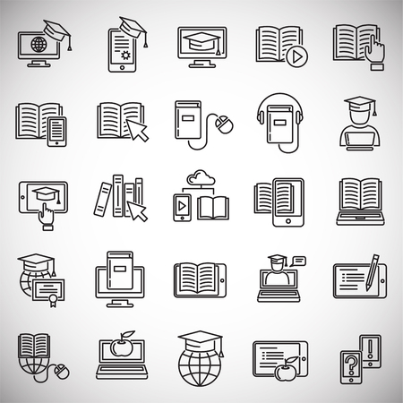 E-Learning line icons set on white background for graphic and web design, Modern simple vector sign. Internet concept. Trendy symbol for website design web button or mobile app