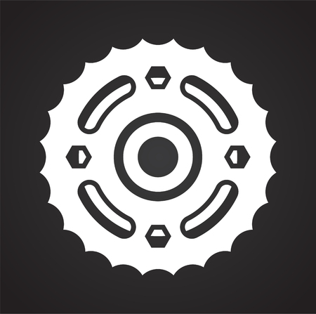 Motorcycle cogwheel icon on black background for graphic and web design, Modern simple vector sign. Internet concept. Trendy symbol for website design web button or mobile app