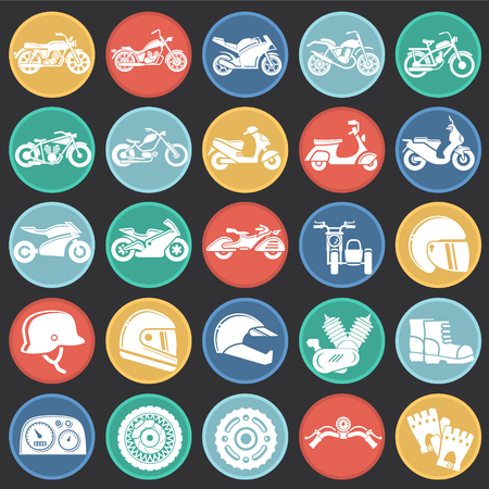 Motorcycle icons set on color circles black background for graphic and web design, Modern simple vector sign. Internet concept. Trendy symbol for website design web button or mobile app