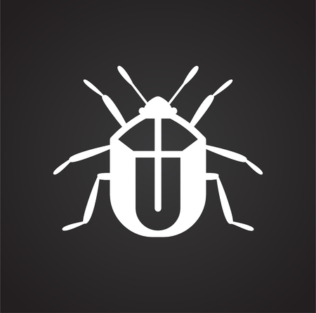 Pest icon on black background for graphic and web design, Modern simple vector sign. Internet concept. Trendy symbol for website design web button or mobile app Stock Illustratie
