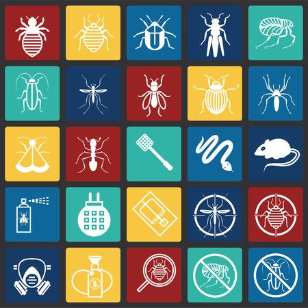 Pest icons set on color squares background for graphic and web design, Modern simple vector sign. Internet concept. Trendy symbol for website design web button or mobile app
