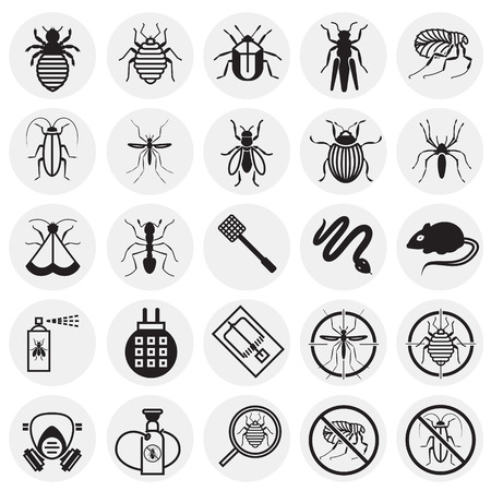 Pest icons set on circles background for graphic and web design, Modern simple vector sign. Internet concept. Trendy symbol for website design web button or mobile app