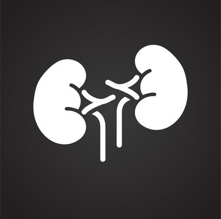 Icono de riñones sobre fondo negro para diseño gráfico y web sencillo, moderno, signo de vectores. Concepto de internet. Símbolo de moda para el botón web de diseño de sitios web o aplicaciones móviles