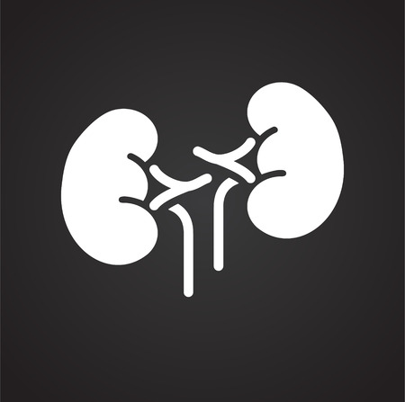 Kidneys icon on black background for graphic and web design, Modern simple vector sign. Internet concept. Trendy symbol for website design web button or mobile app
